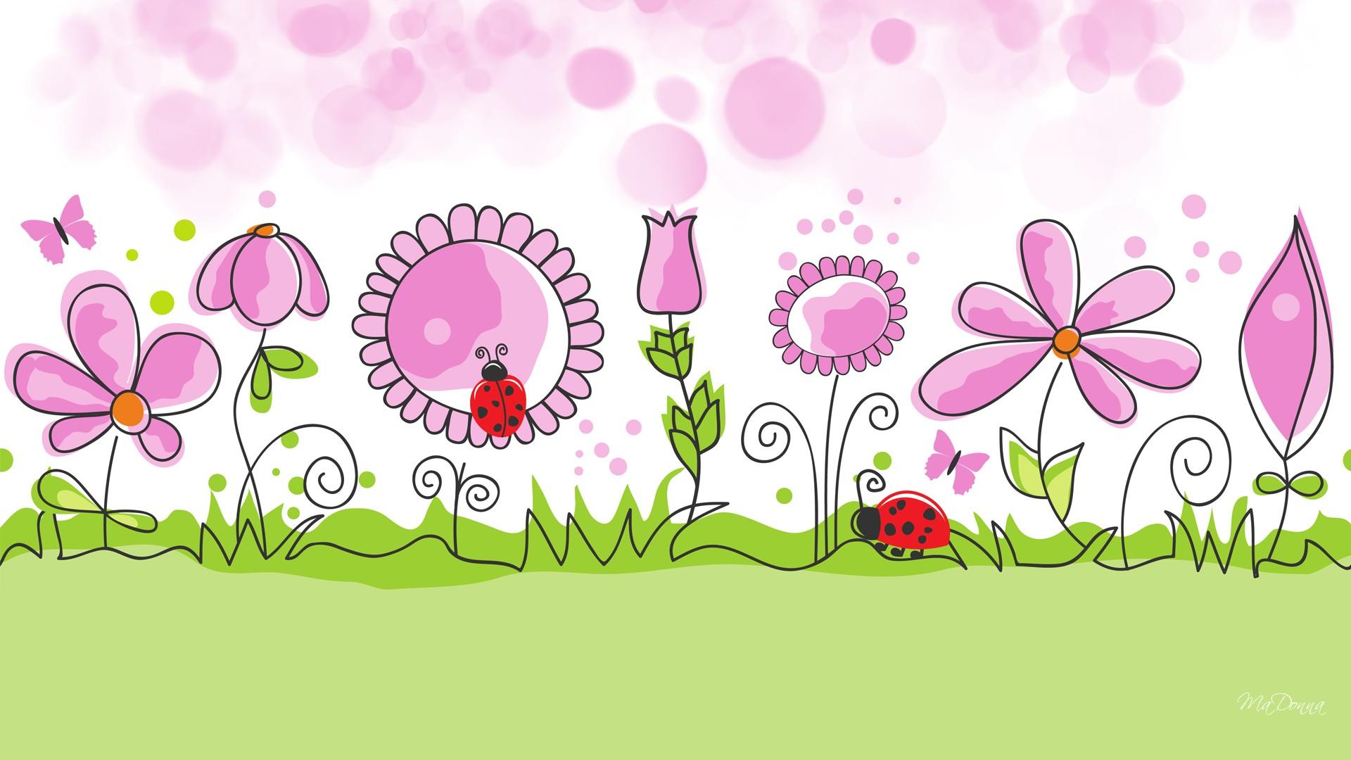A Cute Puppy Wallpaper Flower Garden Spring Vector Wallpaper 1920x1080 176832