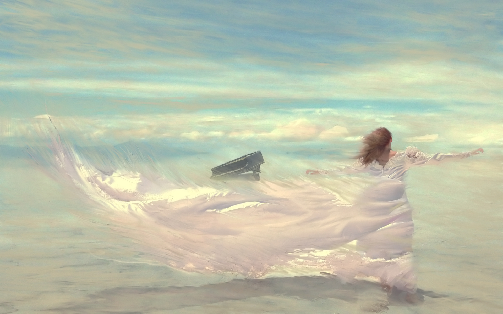 Feeling Low Quotes Wallpaper Drawing Wind Woman Dress Sky Piano Clouds Wallpaper