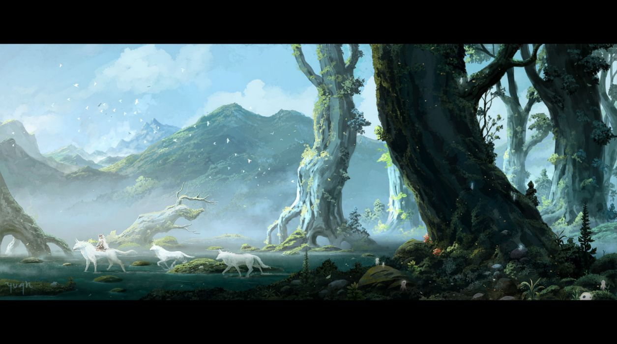 Animal Wallpaper Mononoke Hime Animal Bird Clouds Forest Grass Mononoke