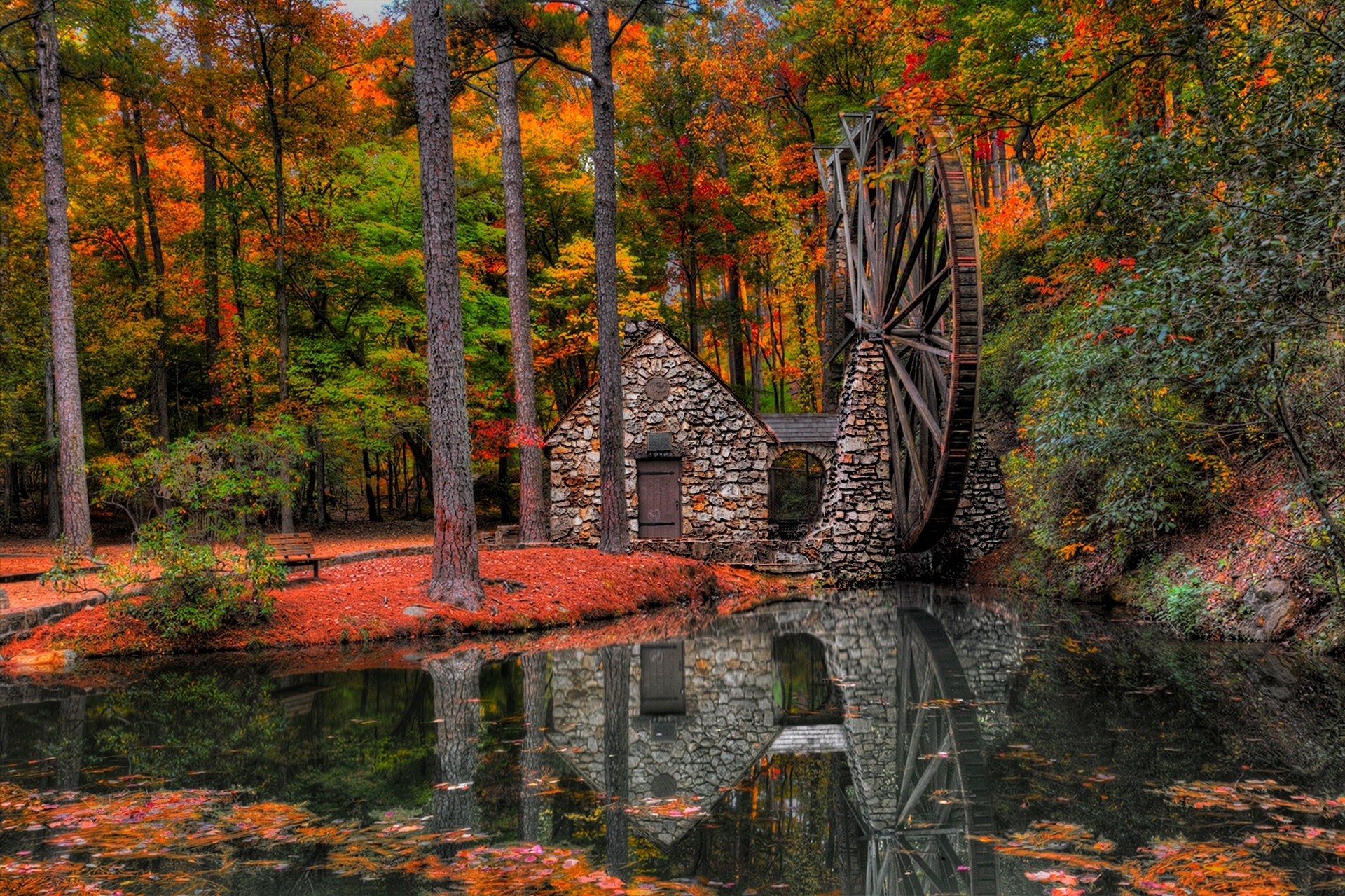 Vermont Fall Foliage Wallpaper Autumn Trees Mill Walk Park Alley Water Mill Forest Leaves
