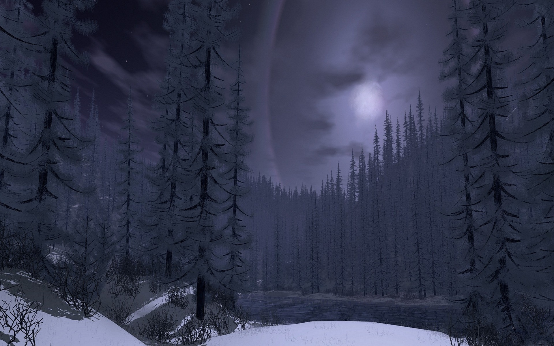 Gothic Girl Live Wallpaper Winter Nature Forest Snow Moon Tree Wallpaper 1920x1200