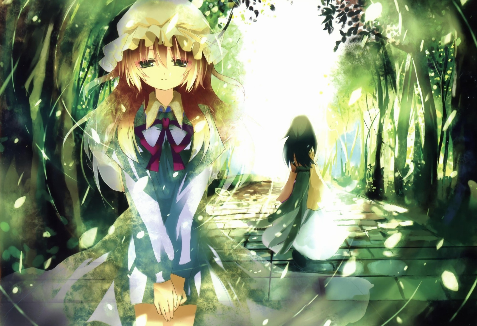Pretty Falling Angel Wallpaper 1920x1080 Blondes Nature Touhou Paths Long Hair Sparkles Green Eyes