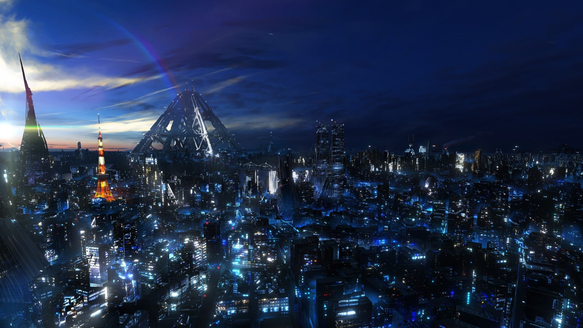 Abstract Anime Wallpaper Cityscapes Anime Cities Futuristic City Wallpaper