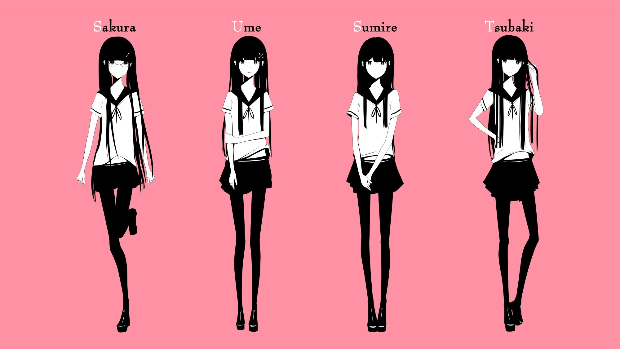 Anime Wallpaper Girls With Glasses School Uniforms Skirts Glasses Long Hair Shoes Pantyhose