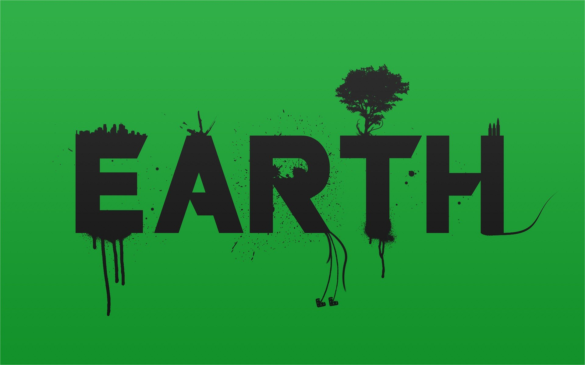 Text earth typography simple background green background
