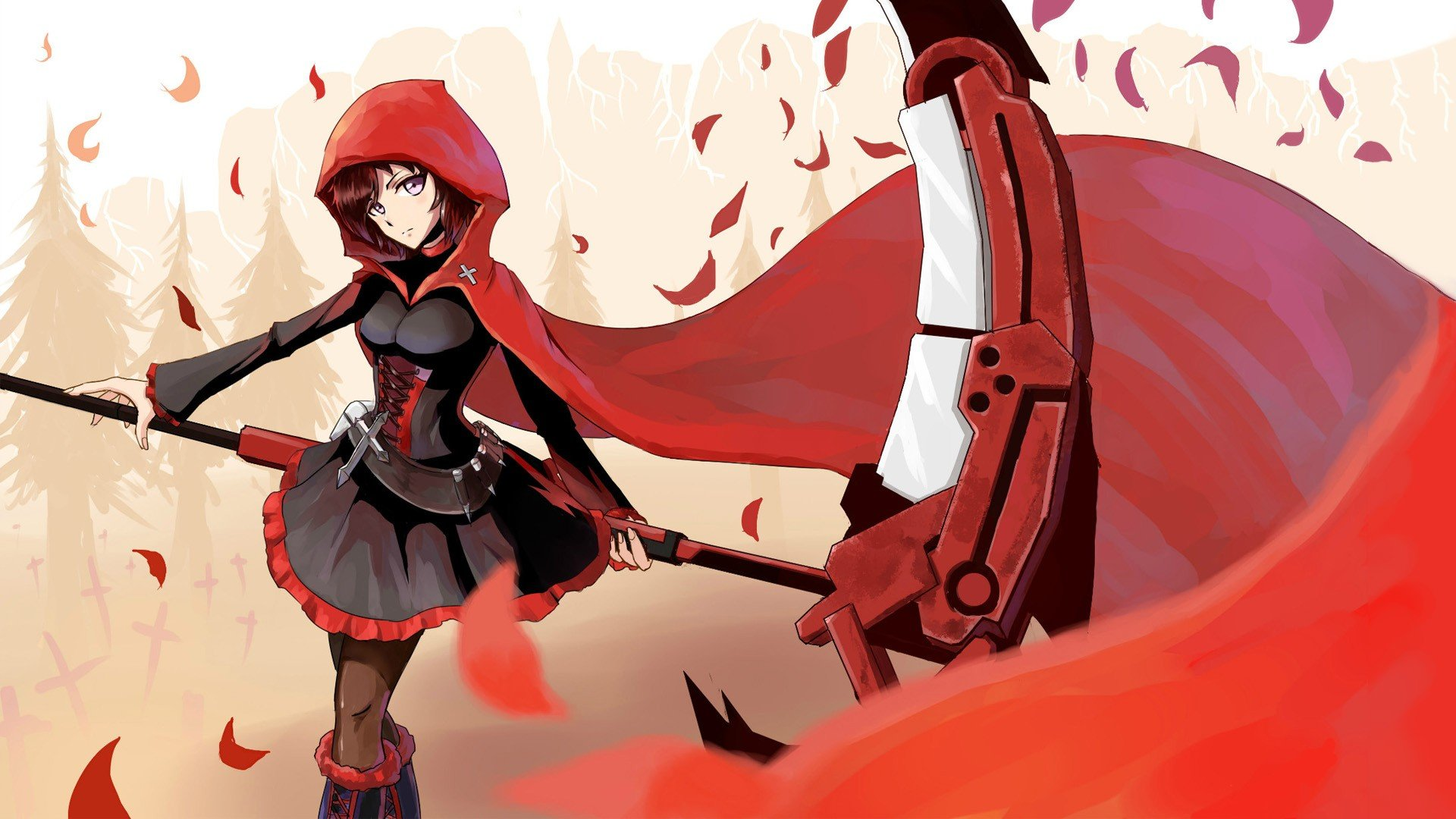 Cute Small Sad Girl Wallpaper Scythe Artwork Red Hood Wallpaper 1920x1080 238580