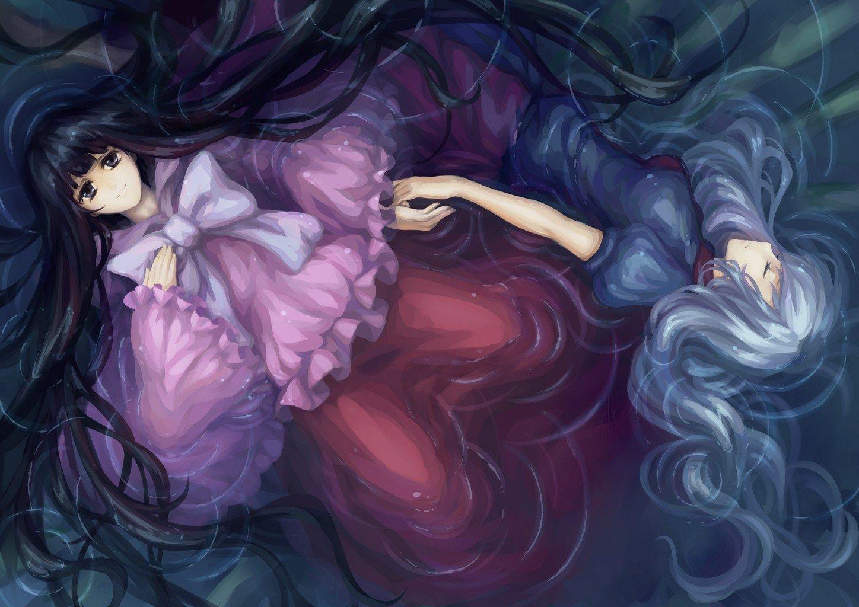 Anime Wallpaper Girls Hair Blonde Eyes Purple Water Video Games Touhou Dress Floating Bamboo Wet Skirts