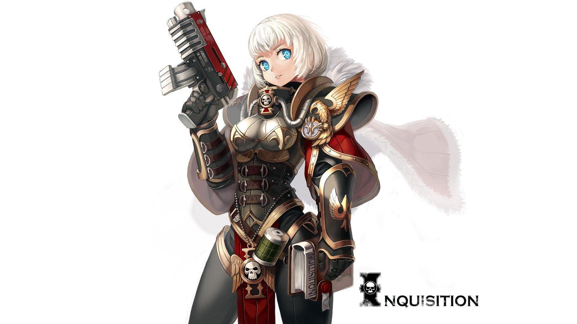 Girl Anime Wallpaper Free Download Weapons Armor Short Hair White Hair Sisters Of Battle