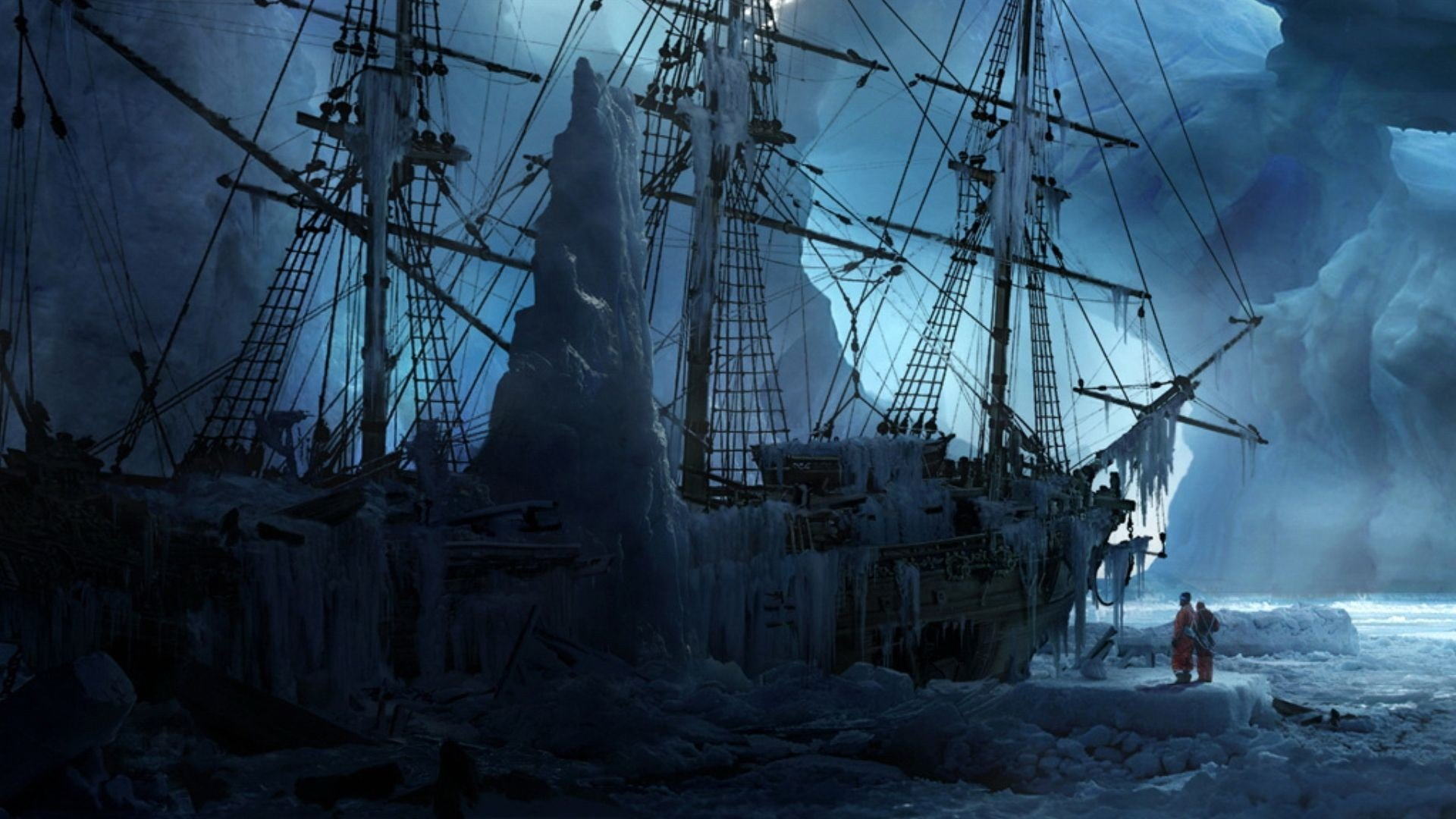 Titanic Ship 3d Wallpaper Free Download Fantasy Ice Artistic Cold Ships Frozen Fantasy Art