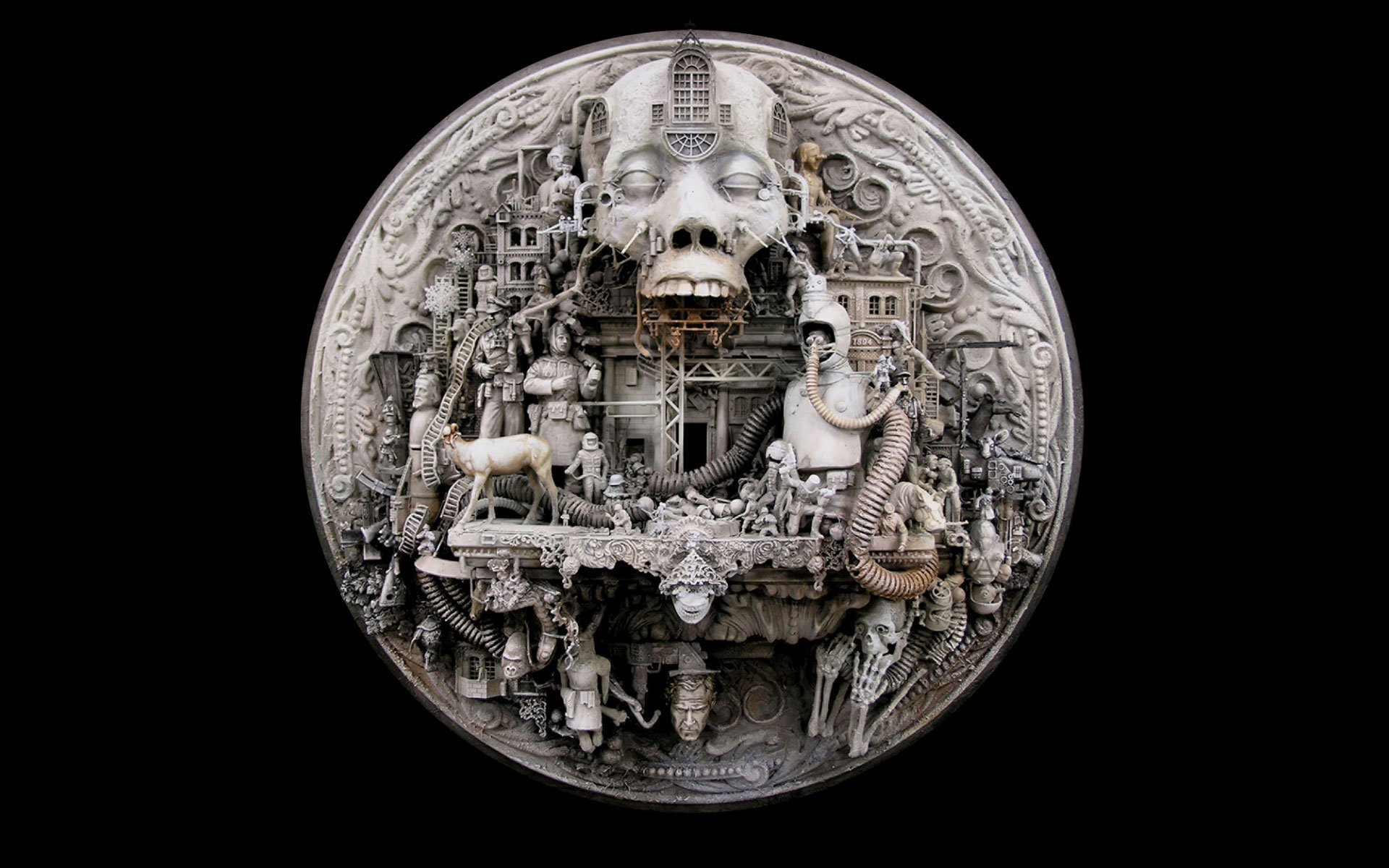 Dark Wallpaper 3d Sculptures Kris Kuksi Black Background Hades Wallpaper