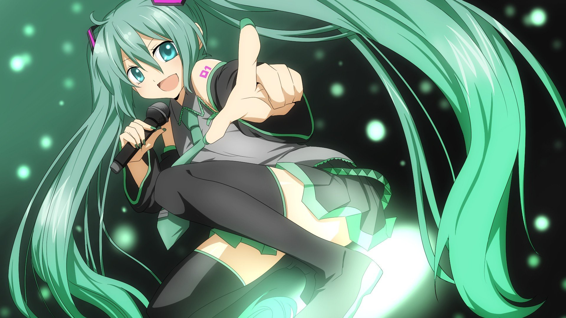 Kitsune Girl Hd Wallpaper Tattoos Vocaloid Hatsune Miku Green Eyes Green Hair Anime