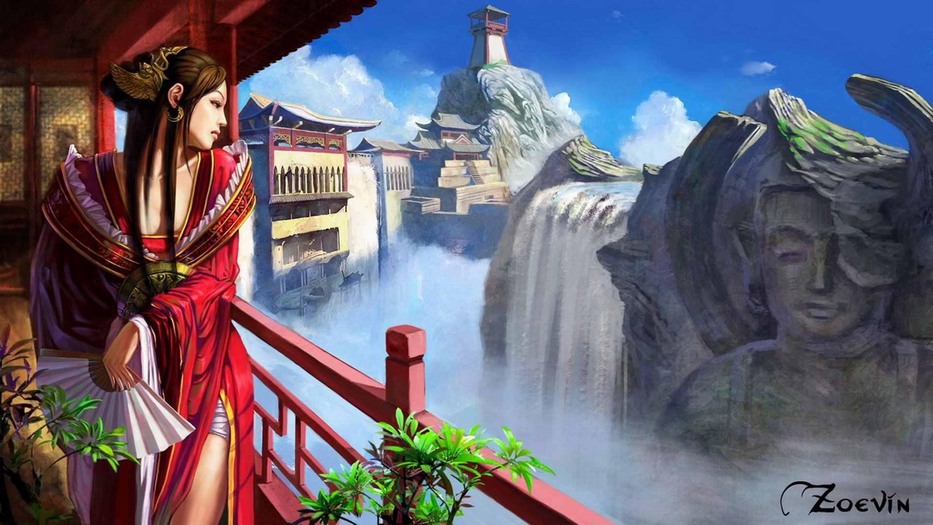 Beautiful Chinese Girl Paintings Widescreen Wallpaper Landscapes Fantasy Art Digital Art Artwork Anime Anime