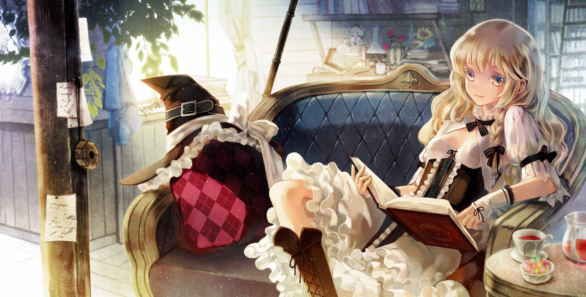 Cute Small Sad Girl Wallpaper Boots Blondes Video Games Touhou Couch Dress Indoors Tea