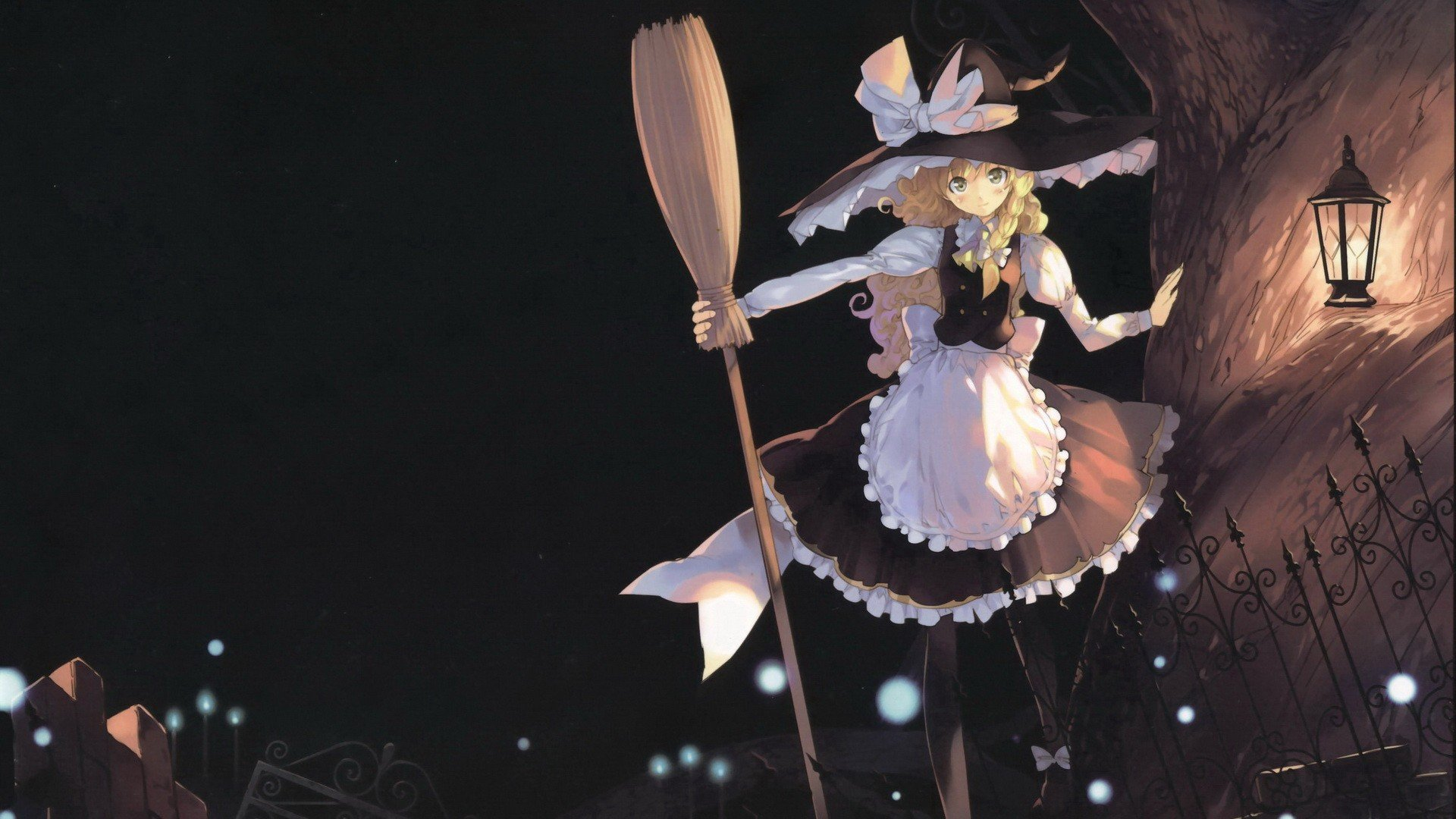 Halloween White Haired Anime Girl Wallpaper Blondes Video Games Touhou Trees Dark Dress Night Fences