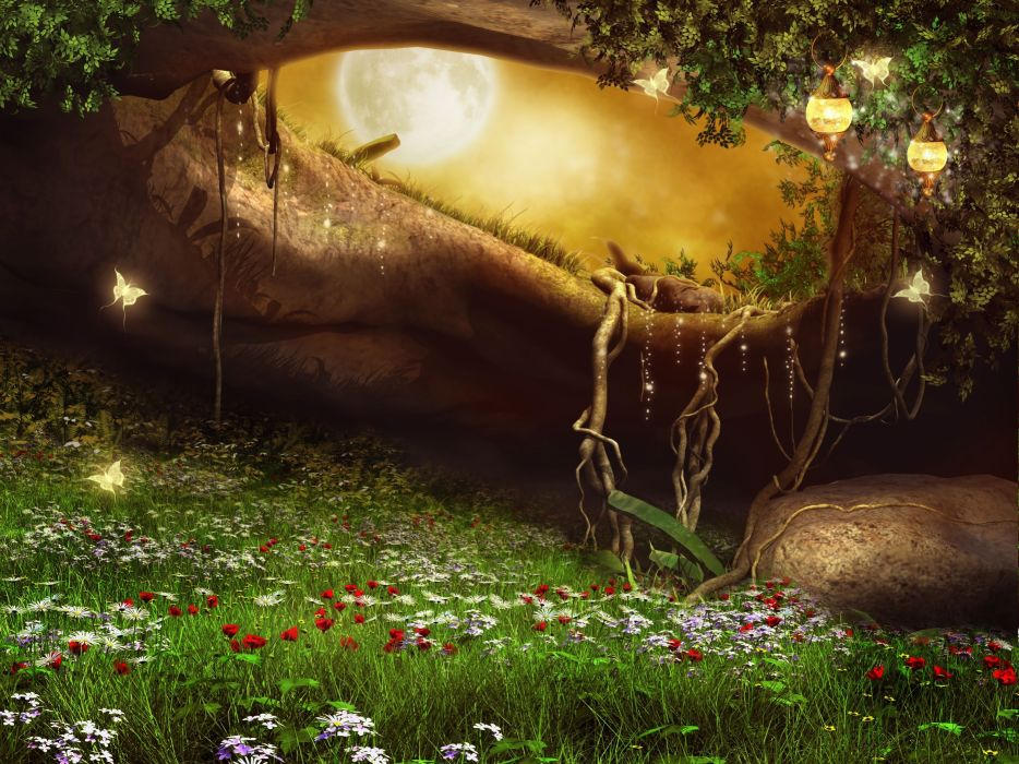 3d Photo Wallpaper Free Download Photoshop Forest Artwork Art Meadow Flower Magical