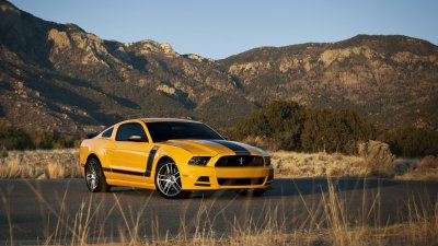 Mountains nature cars Ford Mustang stripes yellow cars muscle car Boss 302 Mustang Boss ...