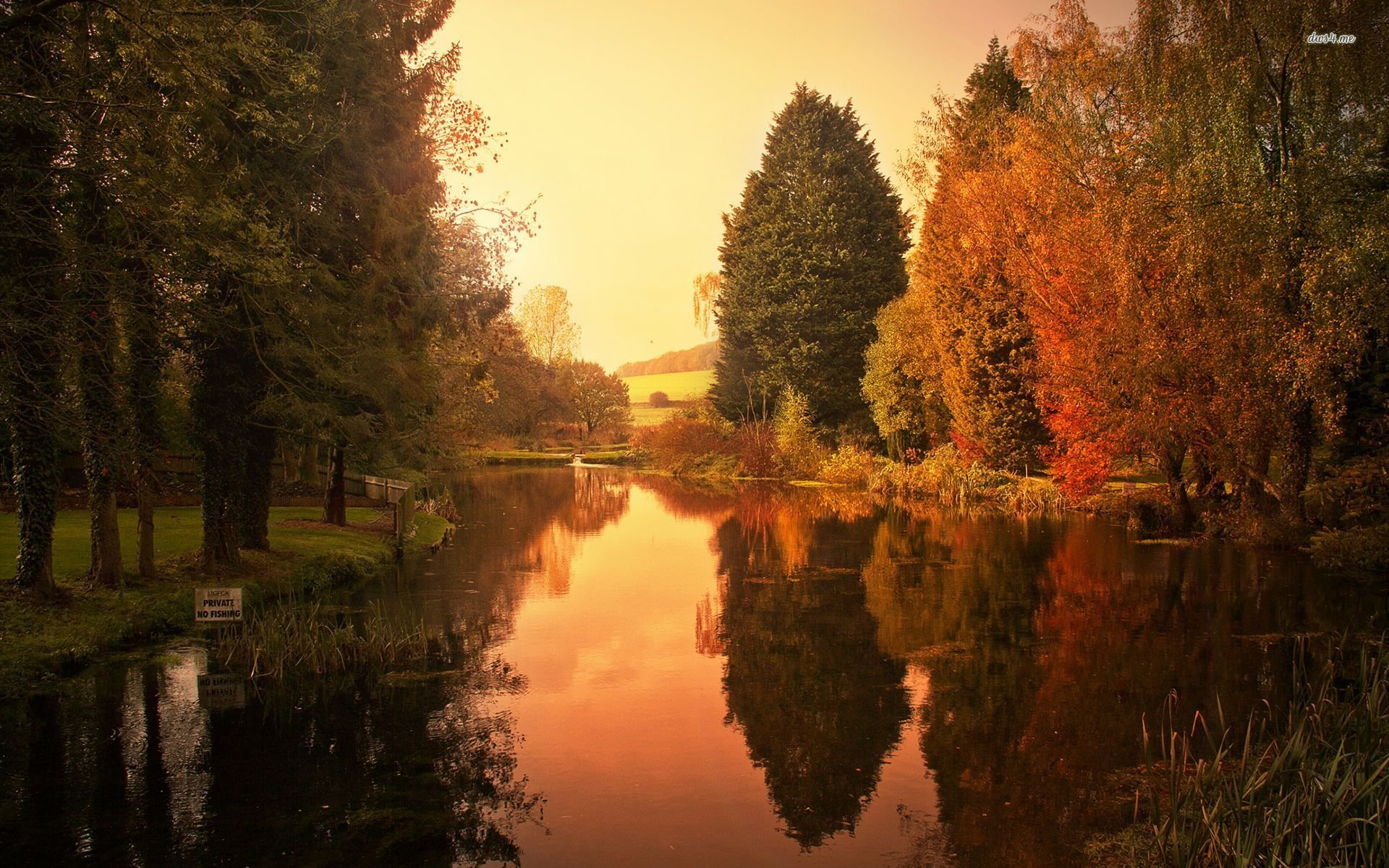 Wallpaper Backgrounds Fall 23065 Fishing Pond Reflecting Autumn Trees 1920x1200