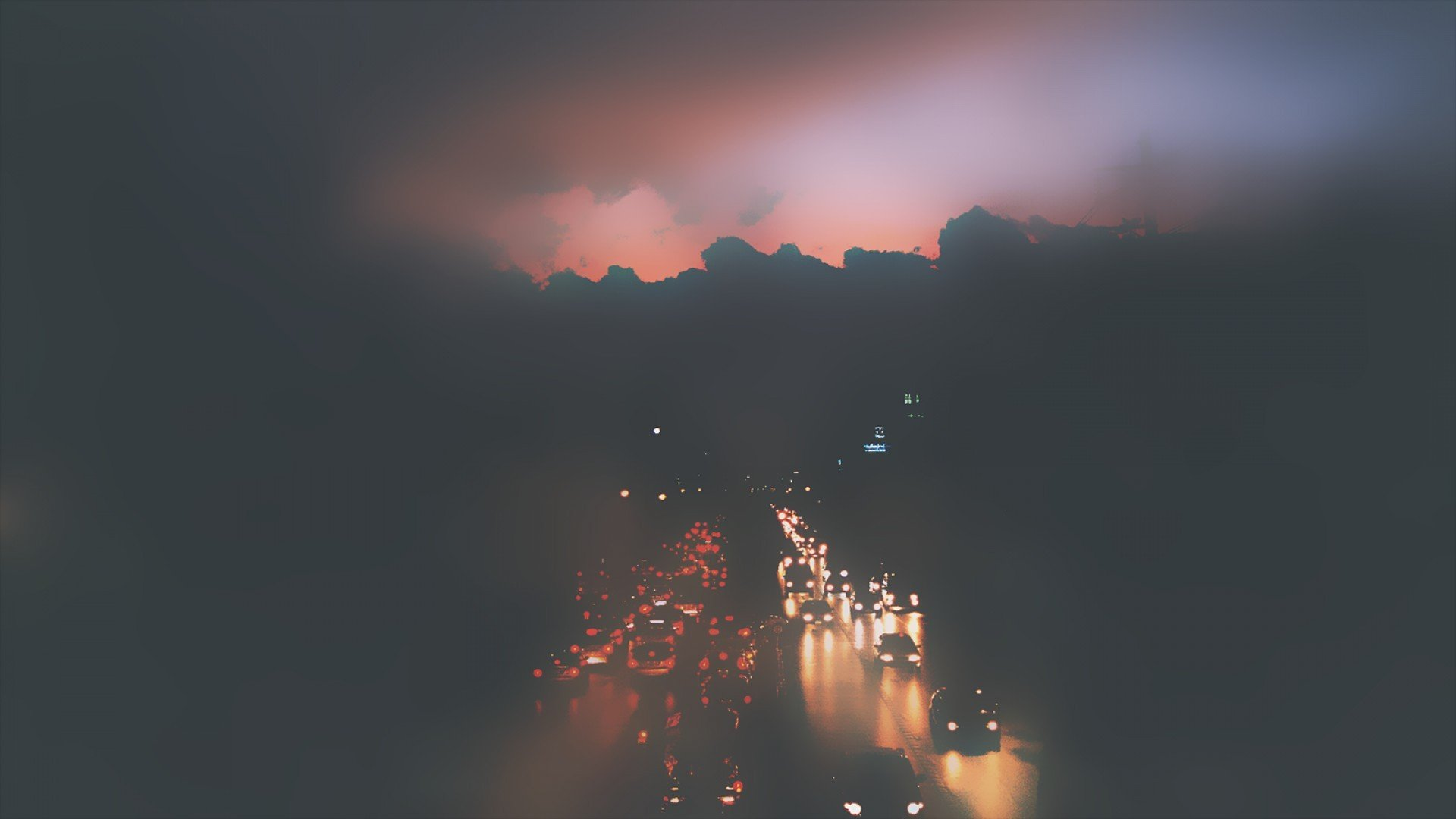 Car Lights Night Wallpaper Cars Fog Mist Traffic Roads Cities Atmospheric Car Lights