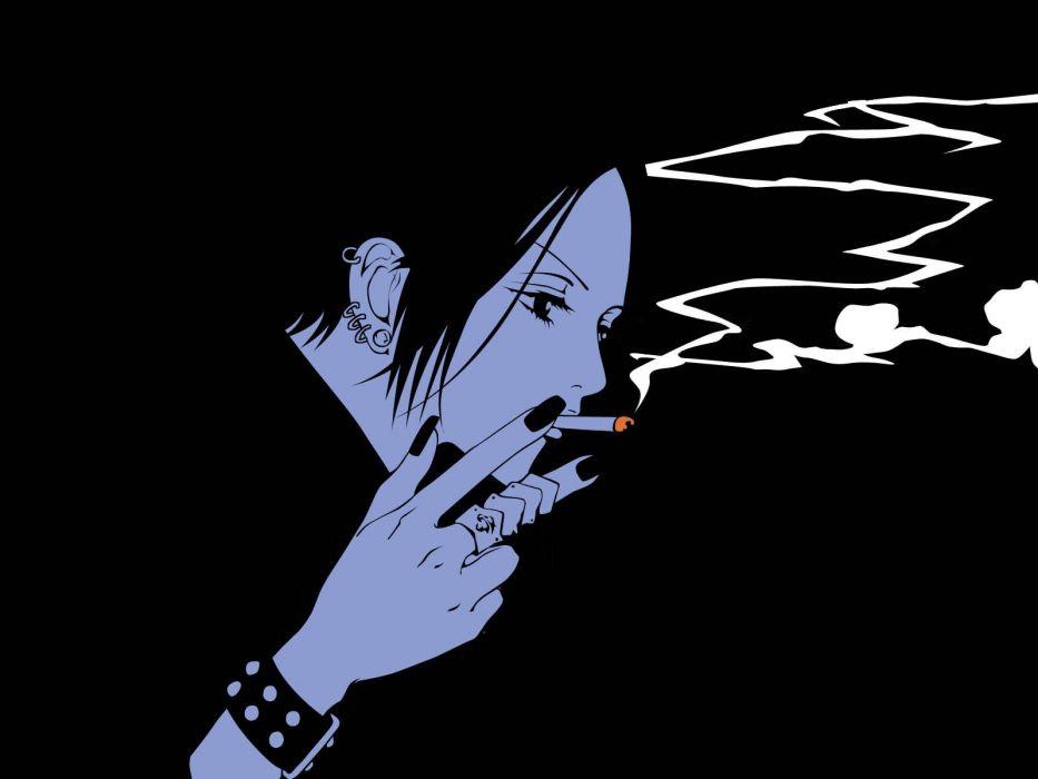 Girl Smoking Wallpaper Hd Smoking Black Nana Simple Background Anime Girls Wallpaper