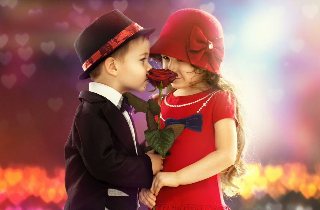 1920x1080 Girl Wallpaper Children Boy Girl Flower Rose Mood Romance Wallpaper