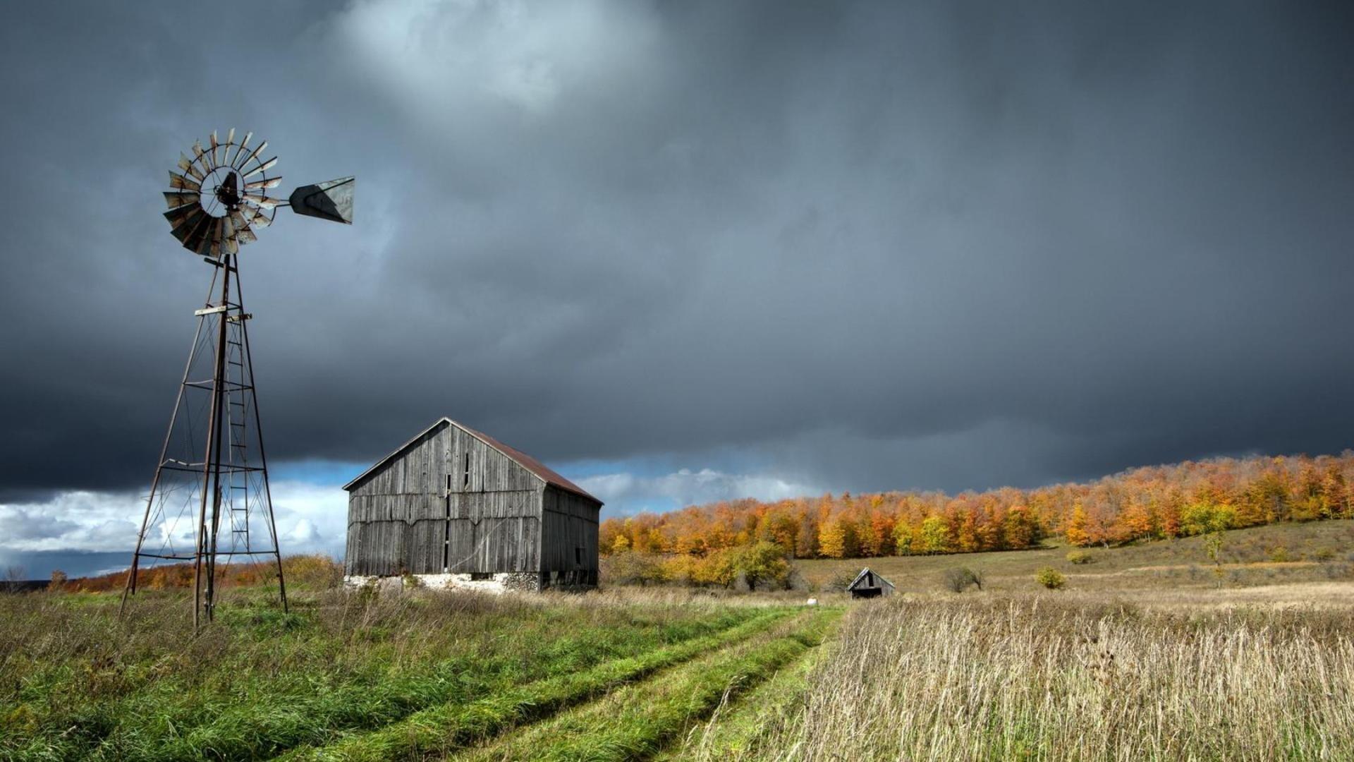 Fall Barn Wallpaper Windmill Farm Mill Wind Power Landscape Rustic 3