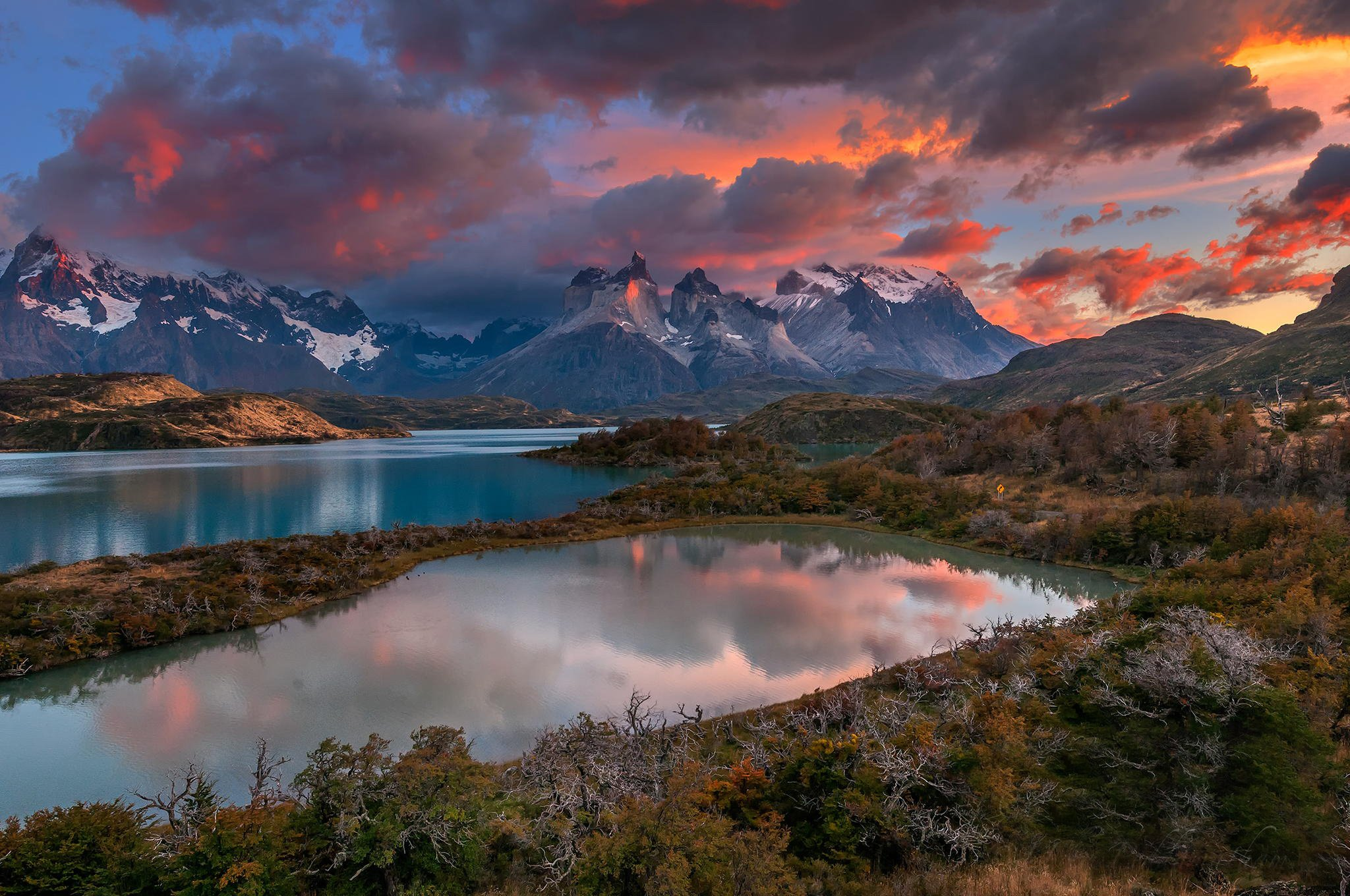 Serene Wallpapers Large Fall Patagonia Chile River Clouds Mountains Wallpaper