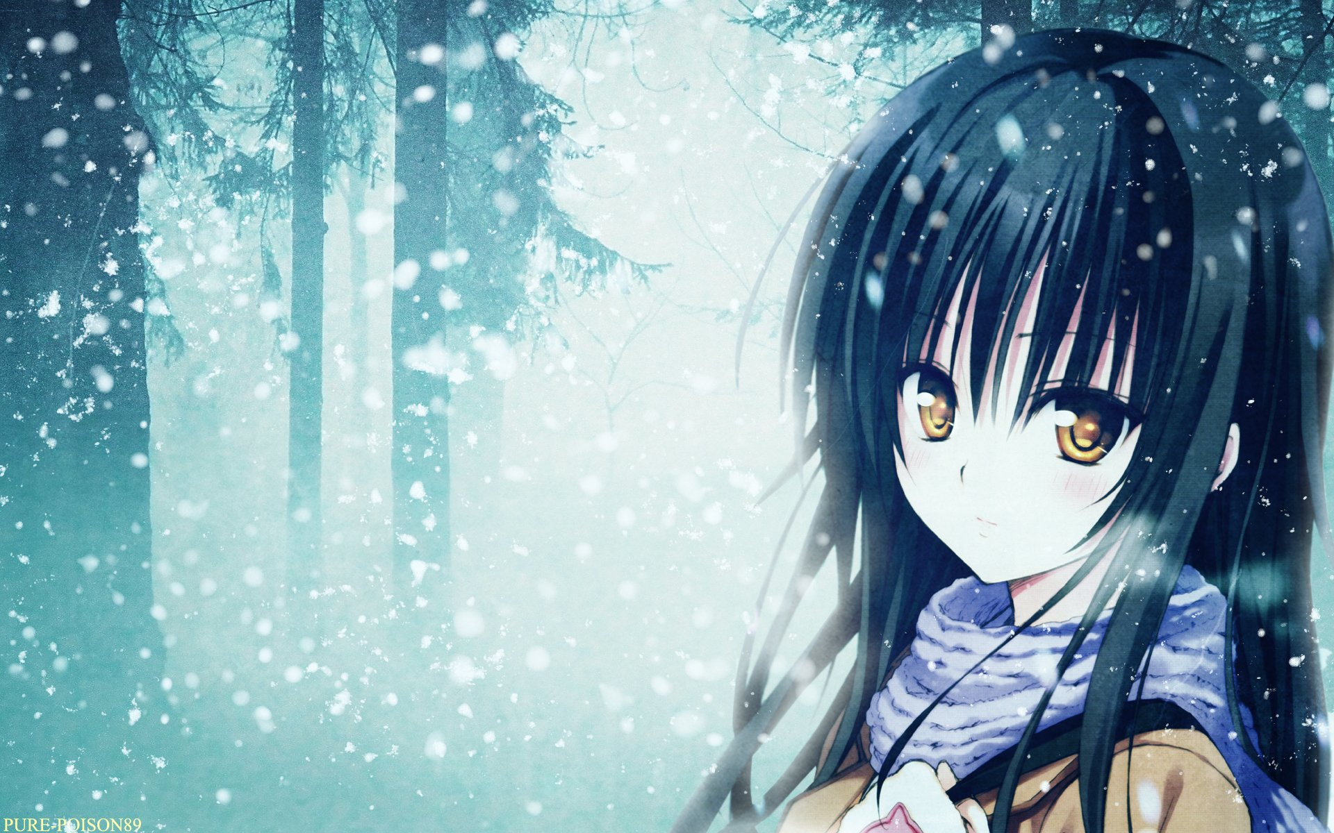 Beautiful Girl Photo Wallpaper Download Anime Blue Girl Sad Snow Long Hair Tree Forest