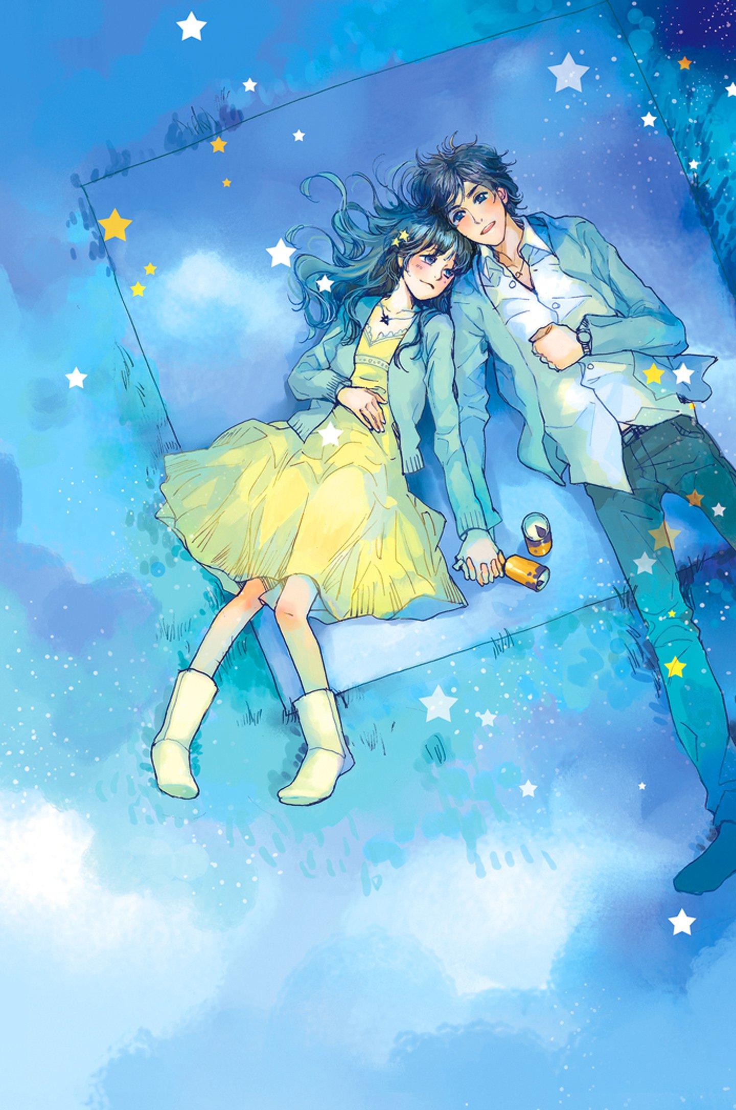 Small Cute Boy Wallpaper Anime Couple Yellow Dress Boy Love Stars Romantic Blue Sky