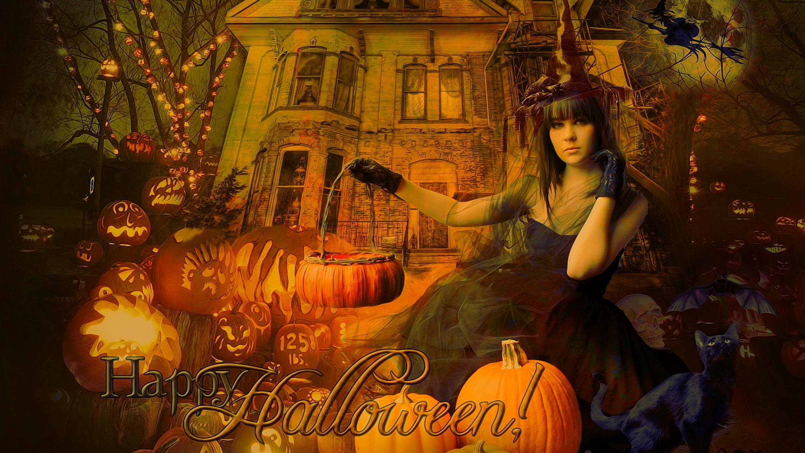 Cozy Fall Hd Wallpaper Halloween Gothic Witch Wallpaper 2560x1440 479862