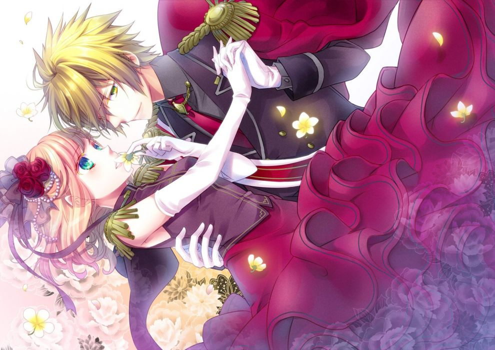 Cute Hugging Couples Wallpapers Flower Couple Love Dance Anime Girl Boy Red Dress Pink