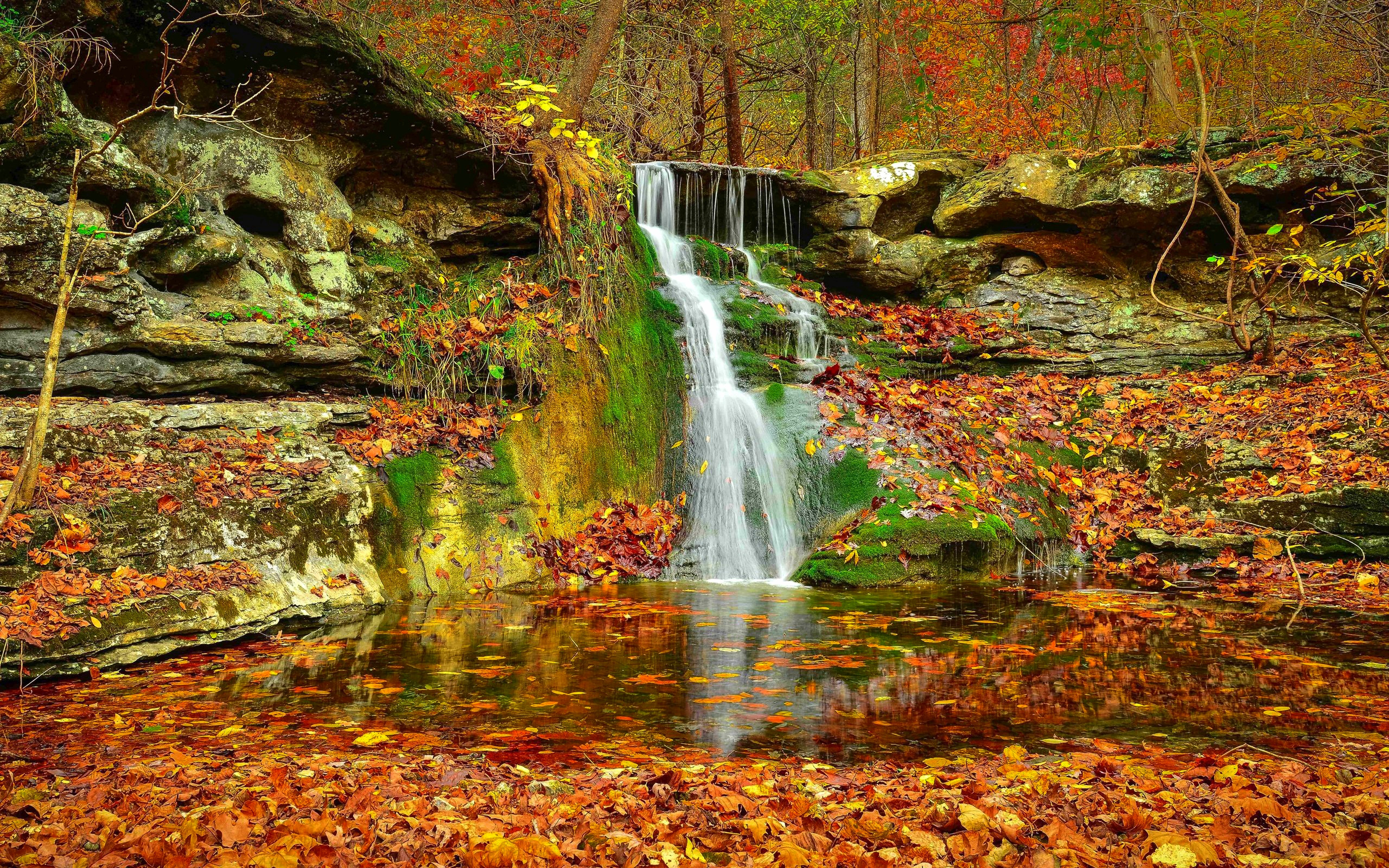 Fall Wallpaper For Large Monitors Waterfall Autumn Lovely Stream Fall Nature Leaves