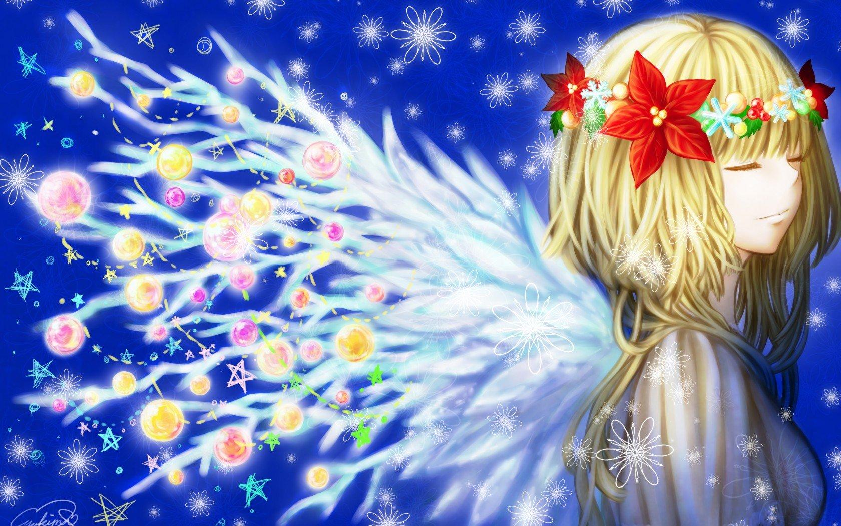 Faerie Girl Wallpaper Girl Toys Anime Christmas New Year Winter Wreath Wings