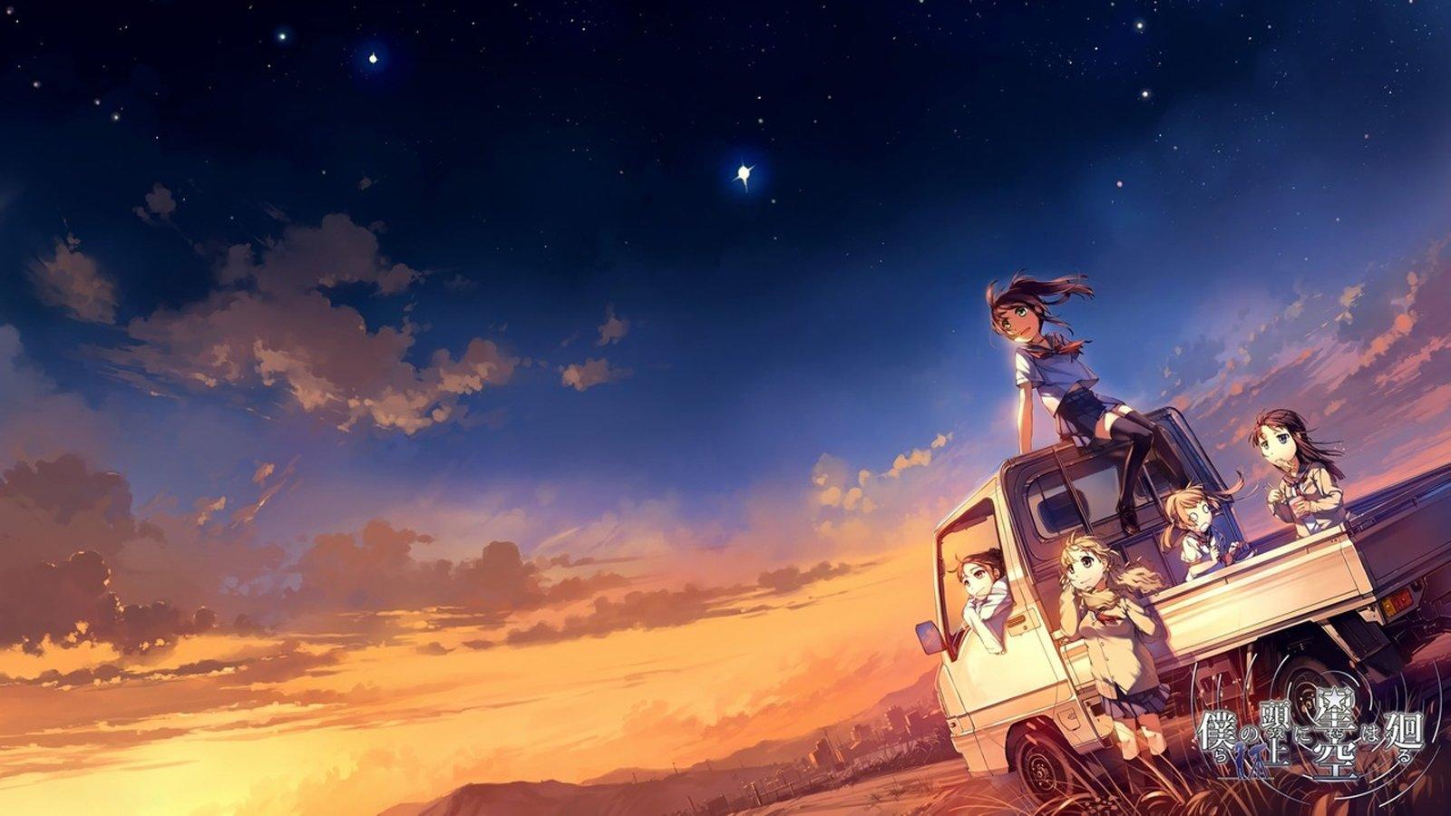 Fall Anime Wallpaper Vocaloid Anime Sky Blue Sunset Sun Light Group Friend Car Clouds