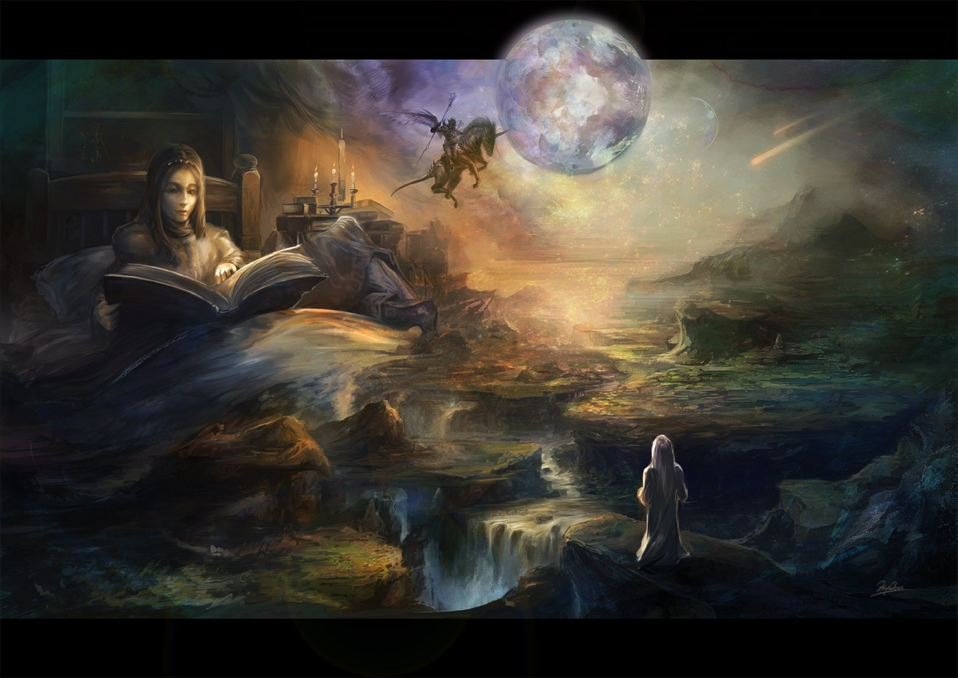 Girl Wallpapers Pics Art Book Moon Bed Girl Tales Landscape Comet Rider Wings
