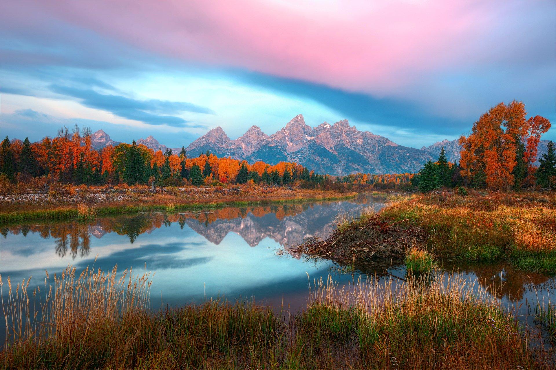 Fall Wallpaper For Large Monitors Usa Wyoming Autumn River Lake Reflection Mountain