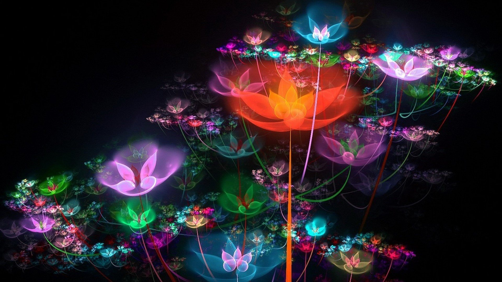 3d Rainbow Psychedeli Wallpaper Colorful Bright Flowers Sparkles Neon Wallpaper