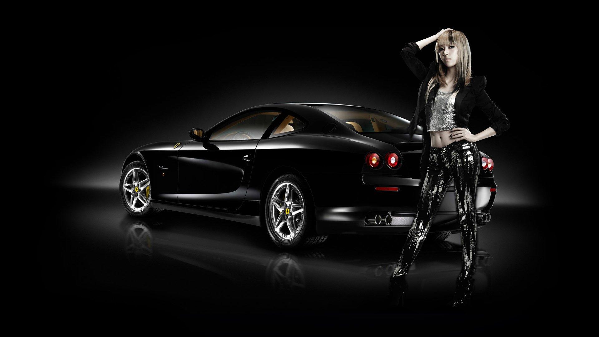 3 Girls Wallpaper Women And Machines Ferrari Car Asian Girls Wallpaper