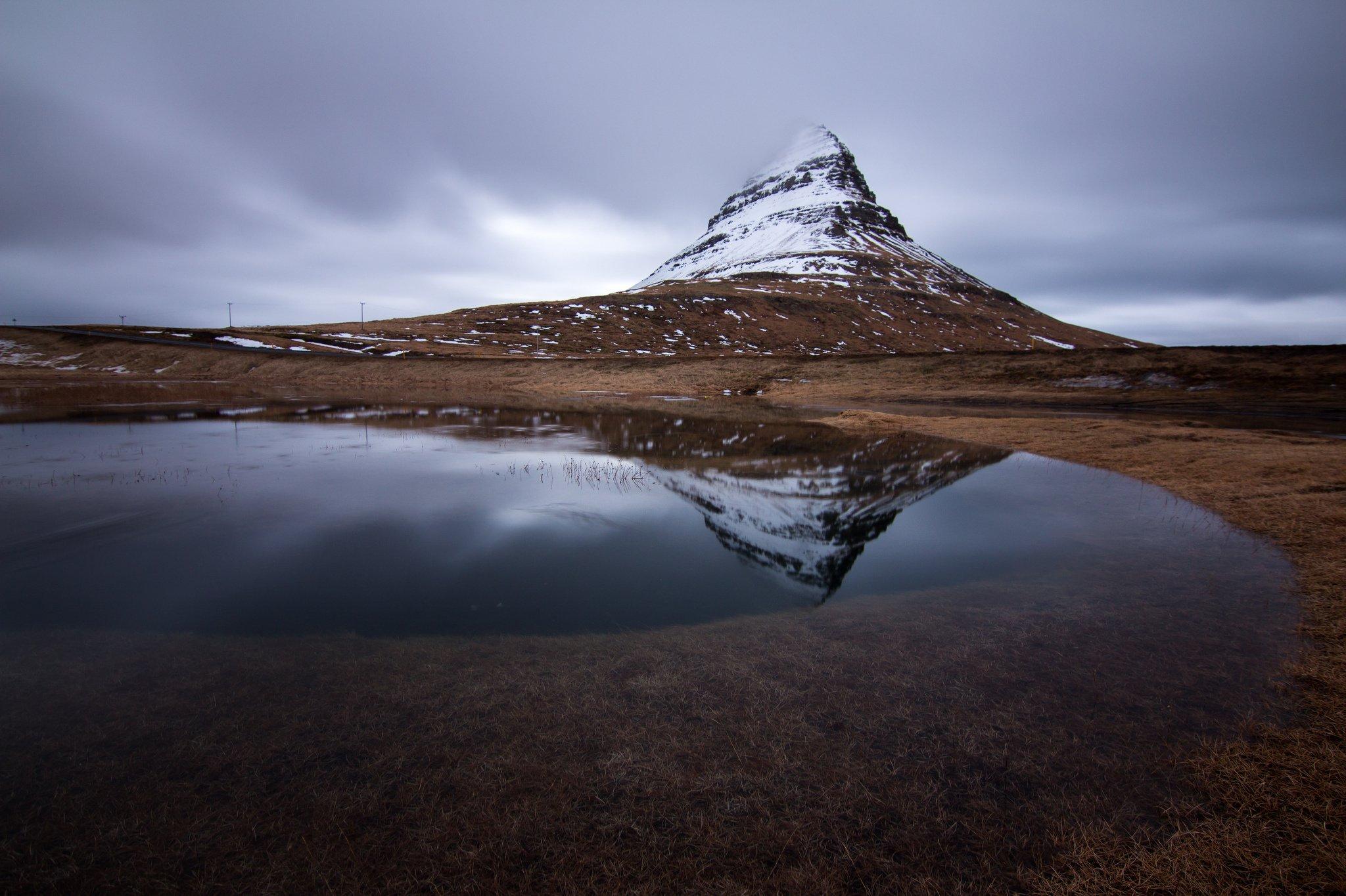 Peace Black Wallpaper Kirkjufell Volcano Mountain River Iceland Reflection