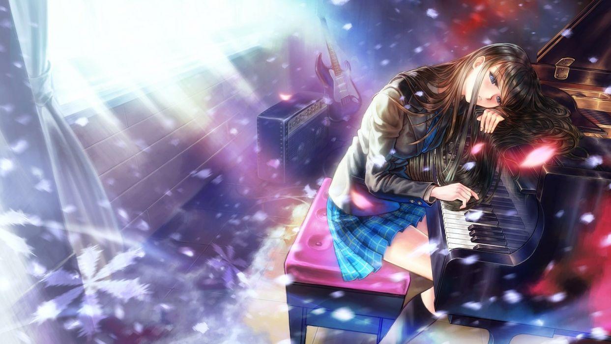 Anime Girl Playing Piano Wallpaper Anime Girl Piano Black Hair Blue Eyes Guitar Instrument