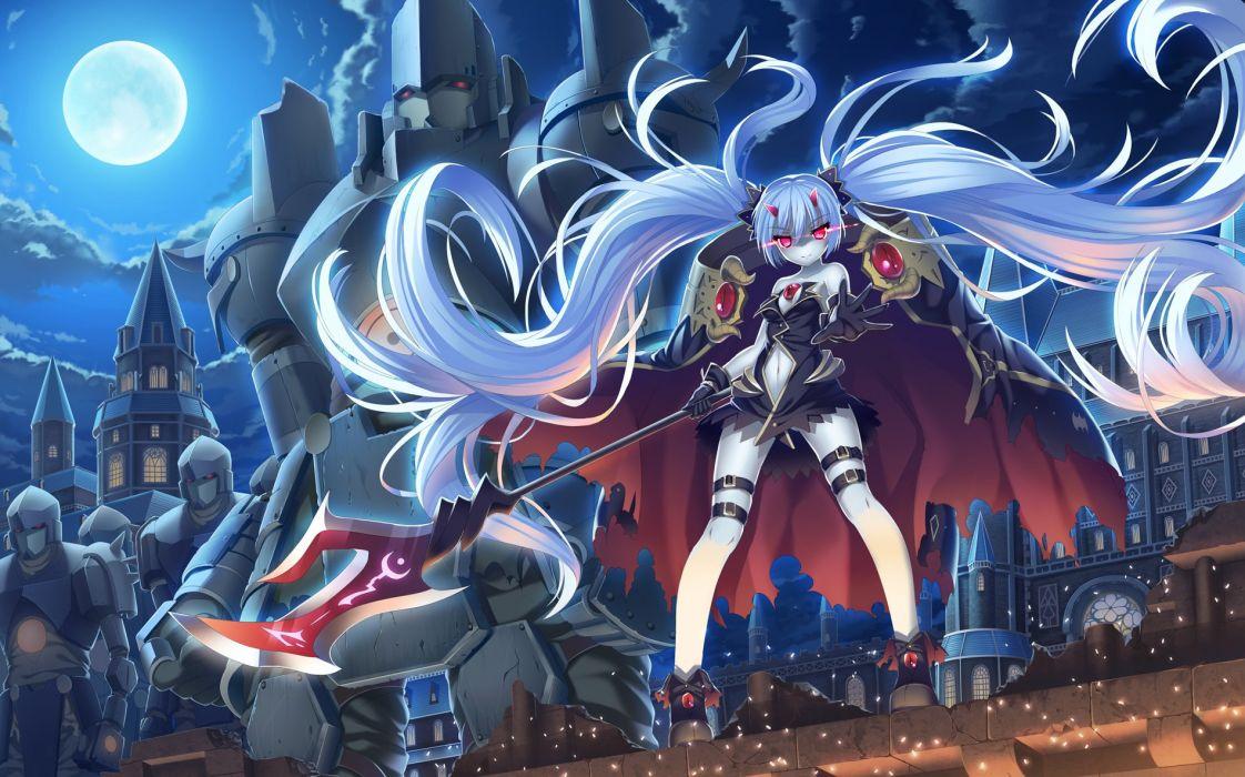 3d Art Wallpaper Blue Eyed Girl Armor Clouds Demon Gloves Horns Long Hair Night Original
