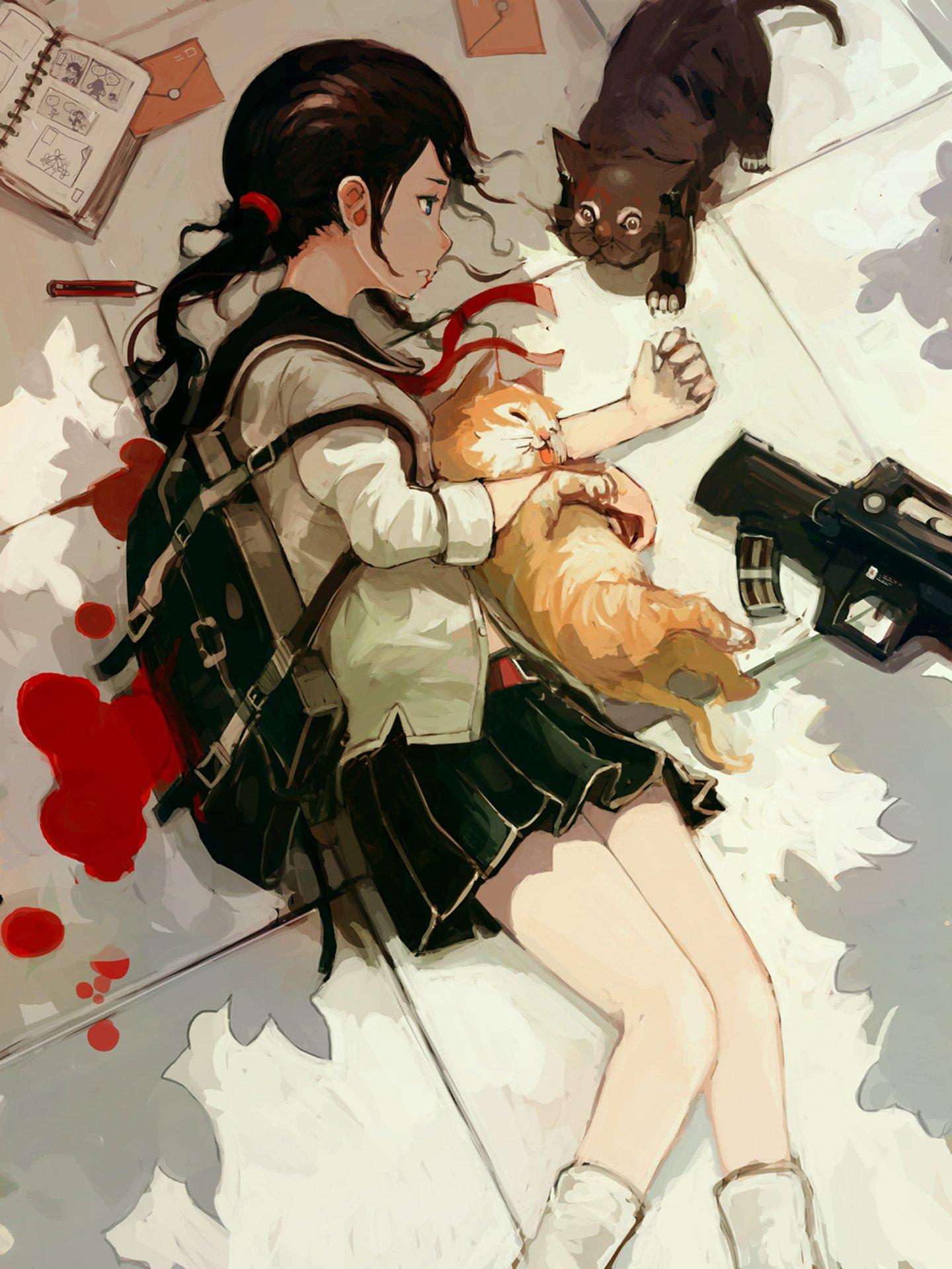 Anime Cute Girl Hoodie Wallpapers Anime Girl Cats Kitty Blood Book Pencil School Uniform
