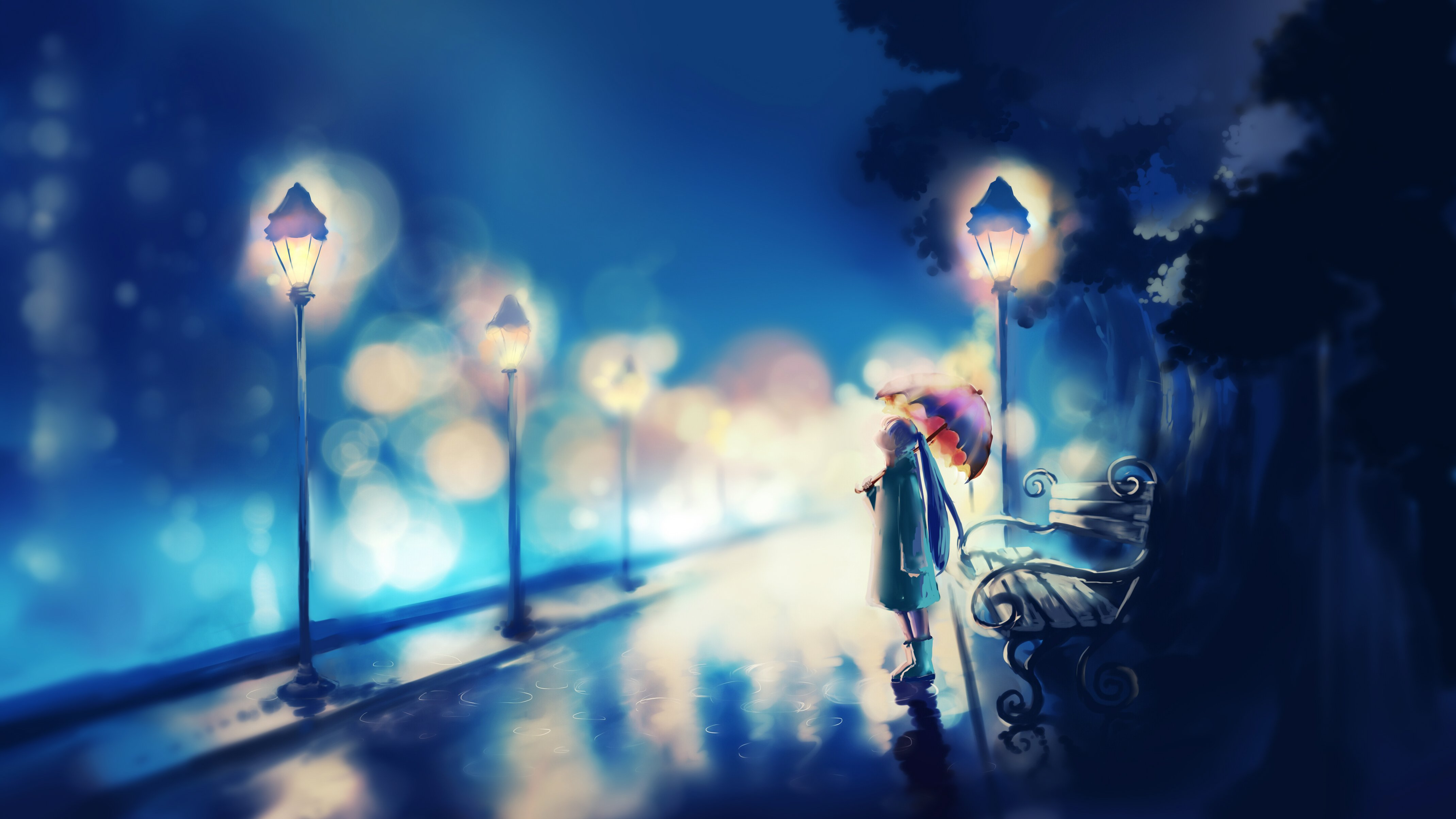 Saint Seiya 3d Live Wallpaper Original Umbrella Red Alone Girl Blue Anime Wallpaper