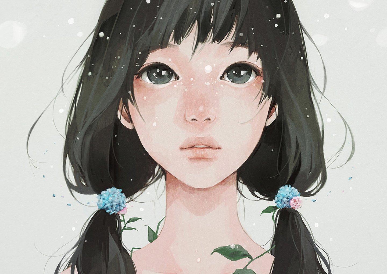 Cute Small Sad Girl Wallpaper Original Anime Girl Face Long Hair Black Hair Wallpaper