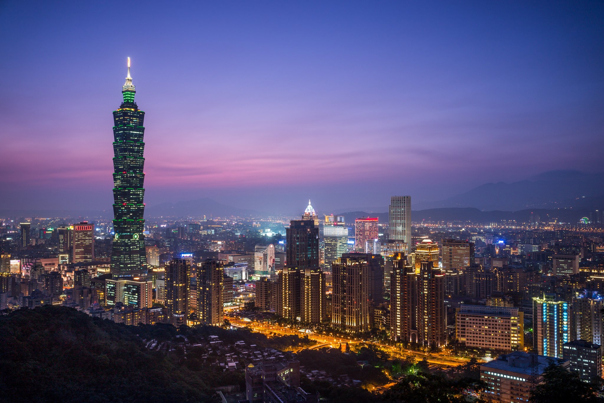Brooklyn Bridge Wallpaper Black And White China Taiwan Taipei Sunset Evening Night City Lilac Purple