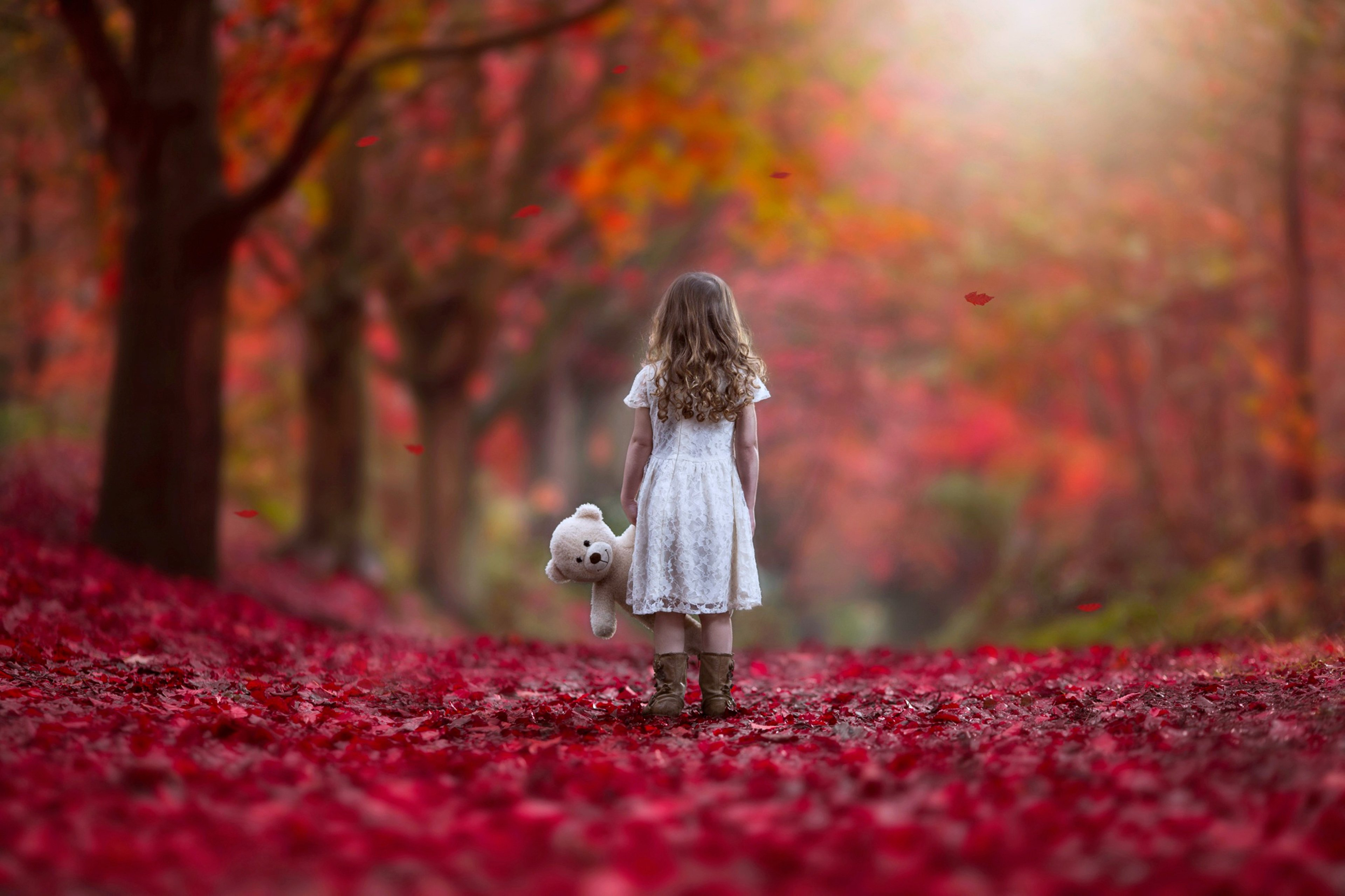 Wallpaper Girl Sad Alone Autumn Littel Girl Forest Sad Lonely Alone Red Nature