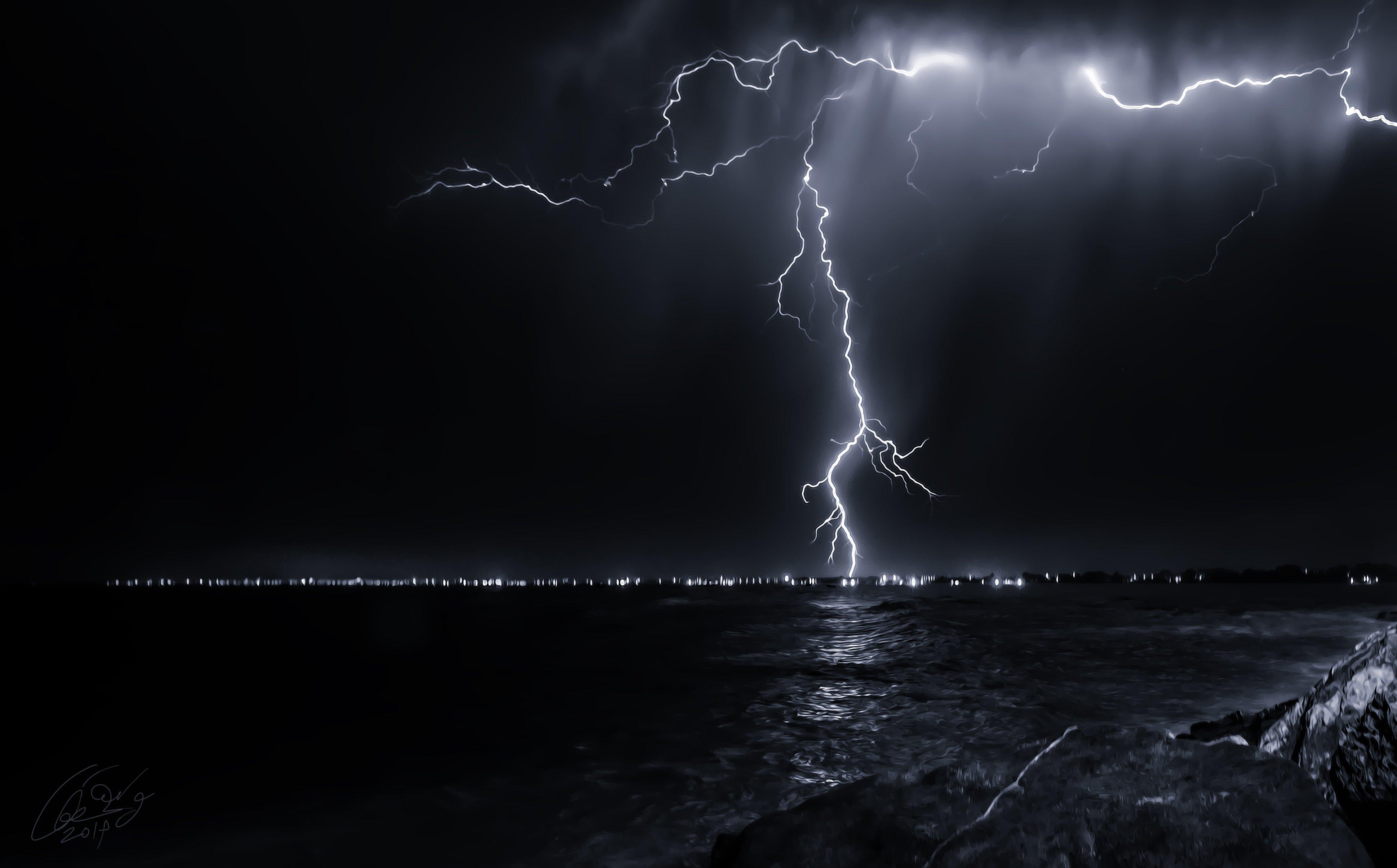 Good Night 3d Wallpapers Free Download Nature Night Sky Lightning Sea Ocean Storm Rain Wallpaper