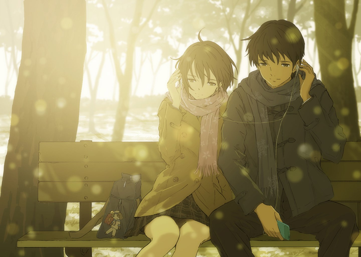 Cute Hugging Couples Wallpapers Anime Love Couple Music Headphone Tree Winter Sunshine