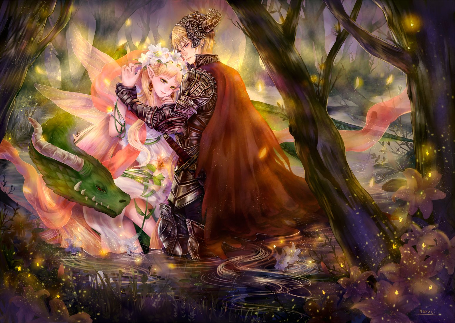 Fall Tree And Black Fence Wallpaper Love Fairy Anime Fantasy Tree Forest Magic Wings Flower