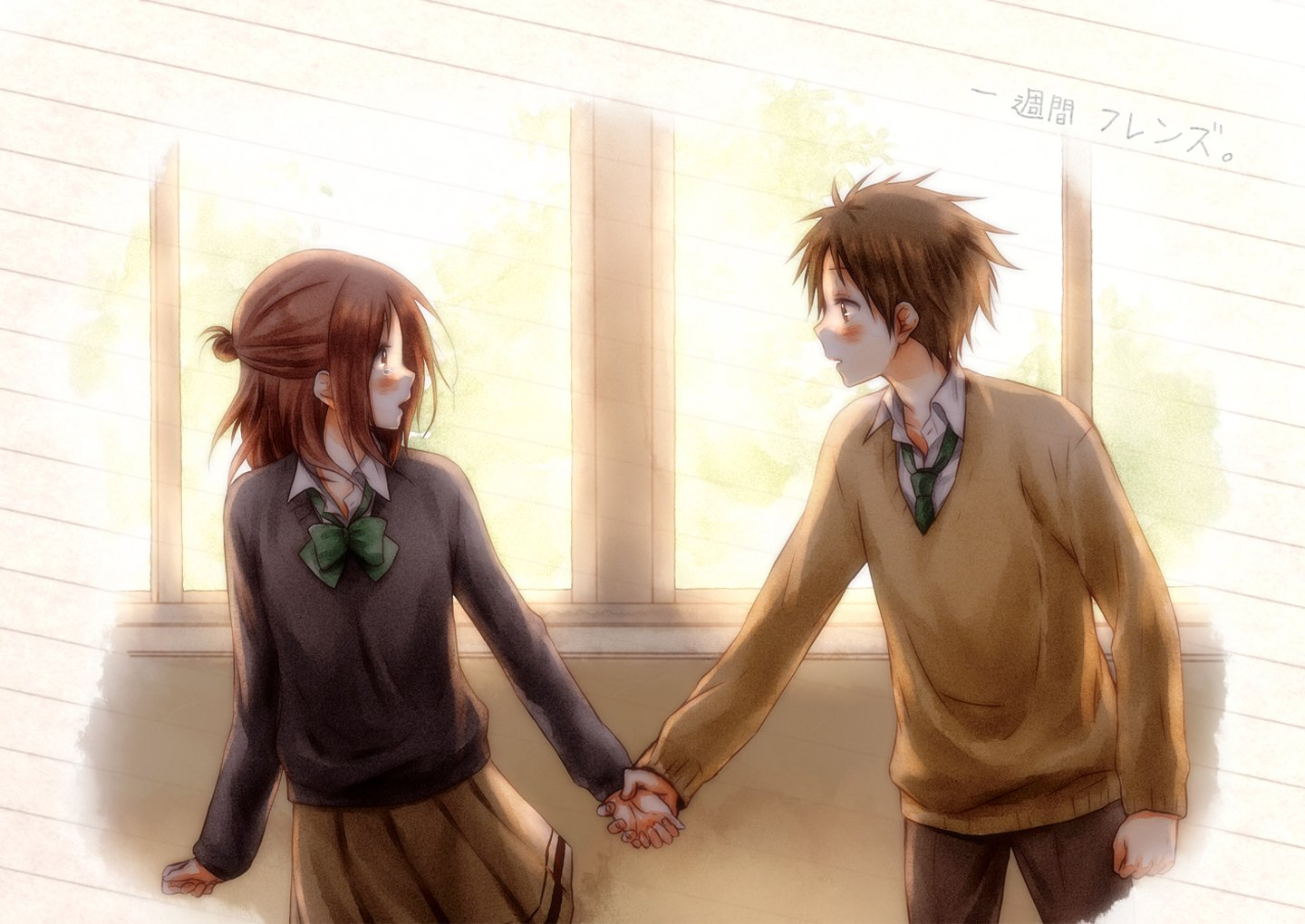 Cute Couples Holding Hands Wallpapers Anime Couple Love School Uniform Pretty Wallpaper