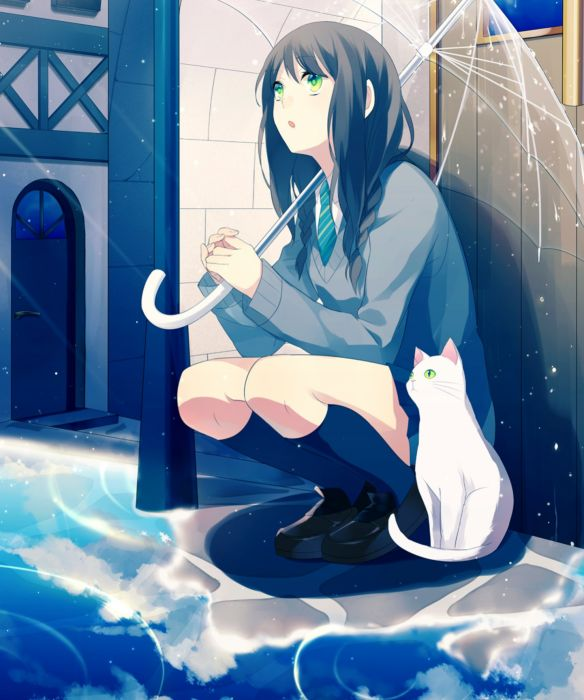 Cute Stylish Small Girl Wallpaper Original Rain Anime Girl Cat Umbrella School Uniform